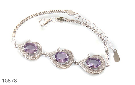 دستبند آمتیست سه نگین پرنسس زنانه - عکس 1