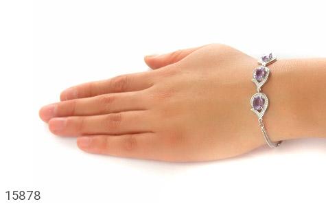 دستبند آمتیست سه نگین پرنسس زنانه - عکس 5
