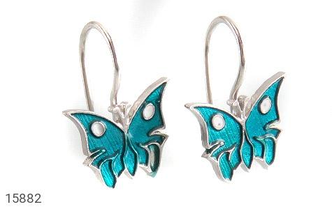 گوشواره نقره میناکاری طرح پروانه بچه گانه - عکس 1