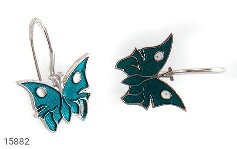 گوشواره نقره میناکاری طرح پروانه بچه گانه - تصویر 2