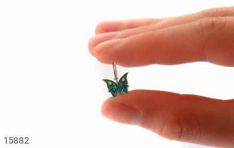 گوشواره نقره میناکاری طرح پروانه بچه گانه - تصویر 6