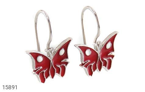 گوشواره نقره میناکاری طرح پروانه قرمز بچه گانه - عکس 1