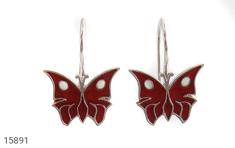 گوشواره نقره میناکاری طرح پروانه قرمز بچه گانه - تصویر 2