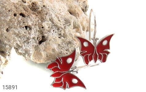 گوشواره نقره میناکاری طرح پروانه قرمز بچه گانه - تصویر 4