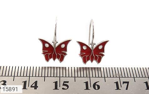 گوشواره نقره میناکاری طرح پروانه قرمز بچه گانه - عکس 5
