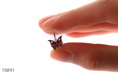 گوشواره نقره میناکاری طرح پروانه قرمز بچه گانه - تصویر 6