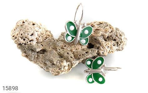 گوشواره نقره میناکاری پروانه سبز بچه گانه - تصویر 4