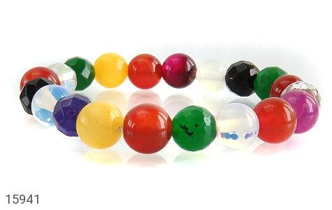 دستبند عقیق و جید رنگارنگ زنانه - تصویر 2