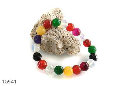 دستبند عقیق و جید رنگارنگ زنانه - عکس 3
