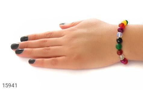 دستبند عقیق و جید رنگارنگ زنانه - عکس 5