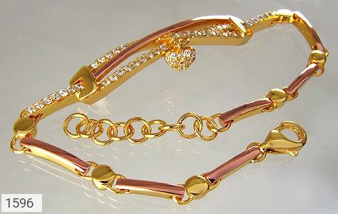 دستبند نقره آب رودیوم زرد آویز قلب زنانه - عکس 1