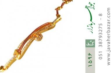 دستبند نقره آب رودیوم زرد آویز قلب زنانه - کد 1596