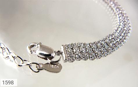 دستبند نقره آب رودیوم سفید طرح تنیسی زنانه - عکس 1