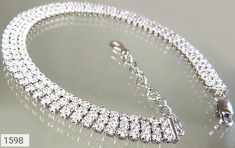 دستبند نقره آب رودیوم سفید طرح تنیسی زنانه - تصویر 2