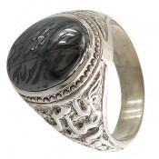 انگشتر حدید سینی هفت جلاله رکاب یا ضامن آهو مردانه