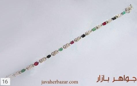دستبند زمرد و یاقوت آب رودیوم زنانه - تصویر 2