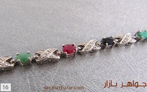 دستبند زمرد و یاقوت آب رودیوم زنانه - عکس 3