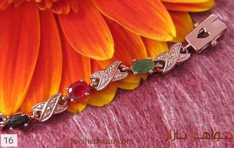 دستبند زمرد و یاقوت آب رودیوم زنانه - تصویر 4
