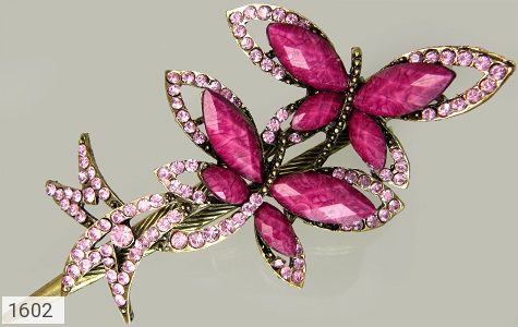 گل سر بنفش طرح پروانه زنانه - عکس 1