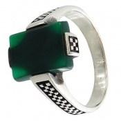 انگشتر عقیق سبز طرح مهریار مردانه