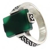 انگشتر عقیق سبز طرح بردیا مردانه