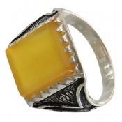 انگشتر عقیق زرد شرف الشمس طرح پاشا مردانه