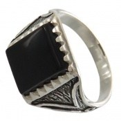 انگشتر عقیق سیاه طرح پاشا مردانه