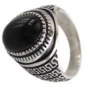 انگشتر عقیق سیاه طرح ورساچه مردانه