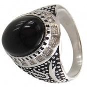 انگشتر عقیق سیاه طرح ستار مردانه