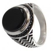 انگشتر عقیق سیاه طرح موج مردانه