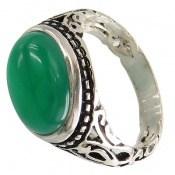 انگشتر عقیق سبز صفوی طرح بردیا مردانه