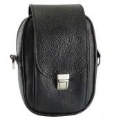 کیف چرم طبیعی دکمه دار مشکی طرح دوشی