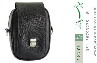 کیف چرم طبیعی دکمه دار مشکی طرح دوشی - کد 16226