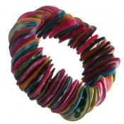 دستبند صدف درشت زیبا و رنگارنگ زنانه