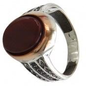 انگشتر عقیق خوش رنگ طرح بهزاد مردانه