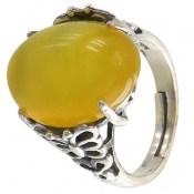 انگشتر عقیق شرف الشمس زرد طرح غنچه زنانه