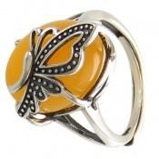 انگشتر عقیق زرد شرف الشمس طرح پروانه زنانه