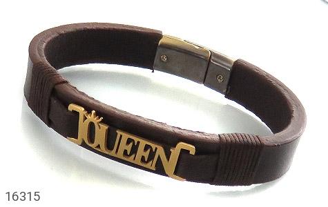 دستبند چرم طبیعی طرح سلطنتی - عکس 1