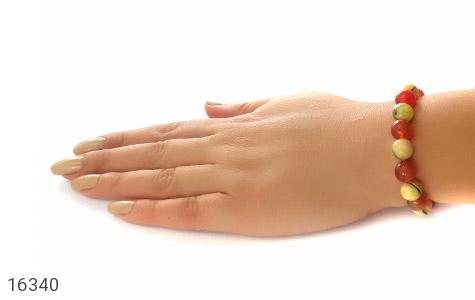 دستبند عقیق و کهربا پودری جذاب زنانه - عکس 5