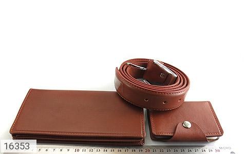 ست چرم طبیعی قهوه ای سه تکه مردانه - تصویر 12