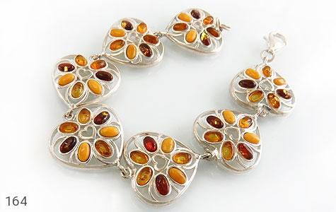 دستبند کهربا بولونی لهستان درجه یک درشت طرح قلب زنانه - تصویر 2