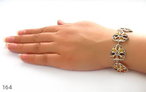 دستبند کهربا بولونی لهستان درجه یک درشت طرح قلب زنانه - تصویر 6