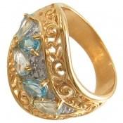 انگشتر الماس و توپاز آبی مانی ایتالیایی زنانه