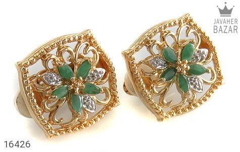 گوشواره الماس و زمرد مانی ایتالیایی زنانه - عکس 1