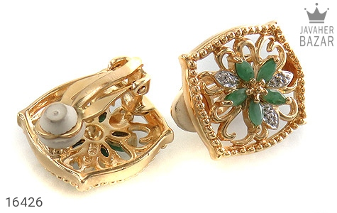 گوشواره الماس و زمرد مانی ایتالیایی زنانه - تصویر 2