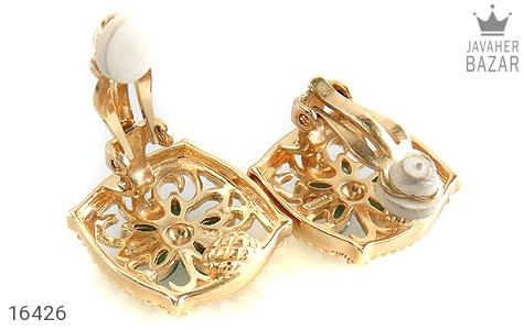 گوشواره الماس و زمرد مانی ایتالیایی زنانه - عکس 3