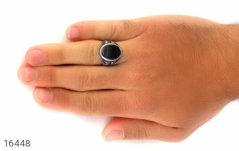 انگشتر عقیق سیاه طرح مهبد مردانه - عکس 7