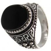 انگشتر عقیق سیاه درشت طرح ورساچه مردانه