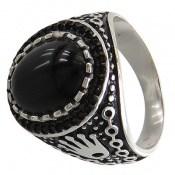 انگشتر عقیق سیاه شاهانه مردانه