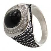 انگشتر عقیق سیاه طرح آونگ مردانه
